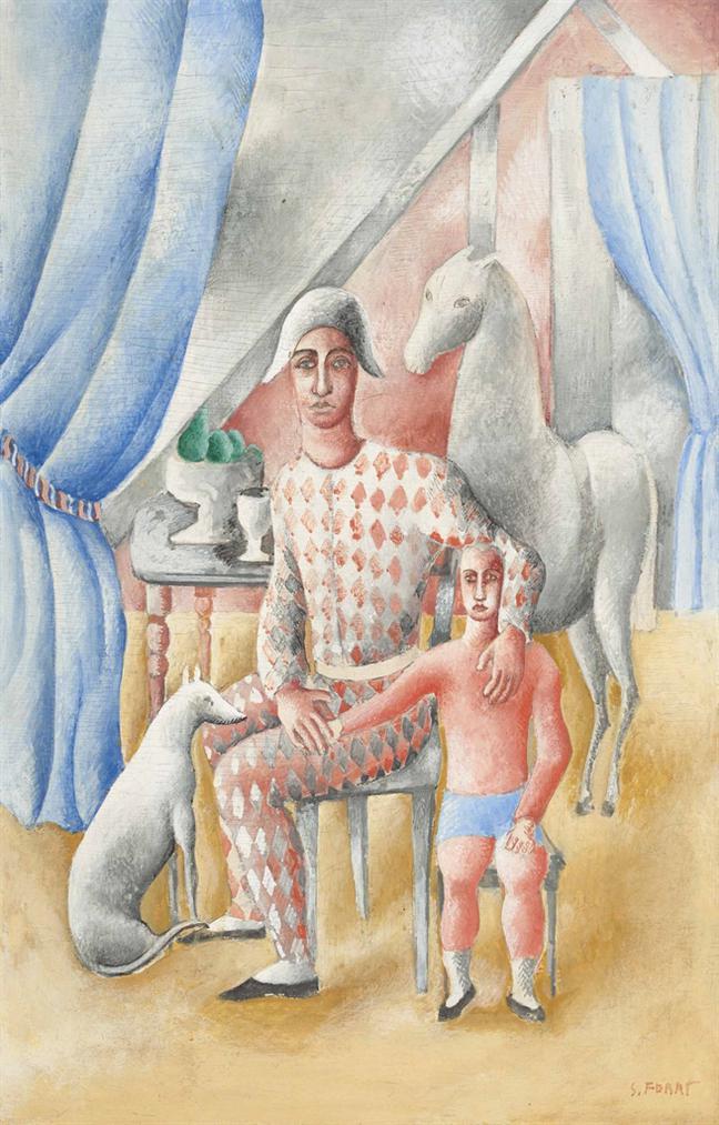 Serge Ferat-Arlequin Et Enfant-1930