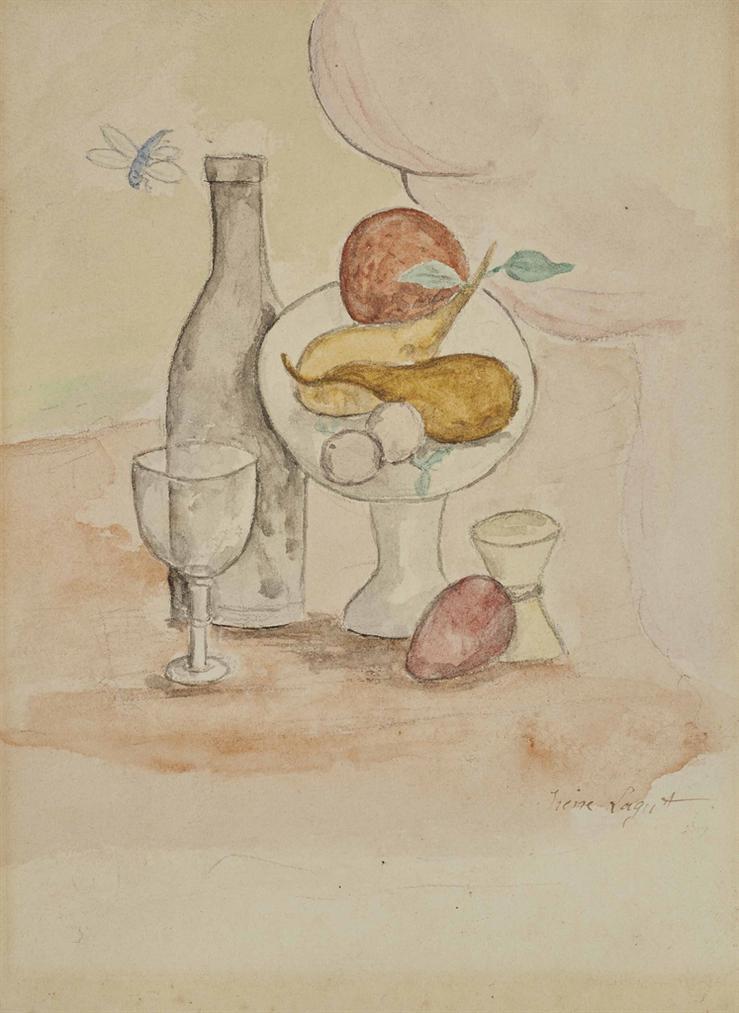 Irene Lagut - Nature Morte A La Bouteille Et Aux Fruits-