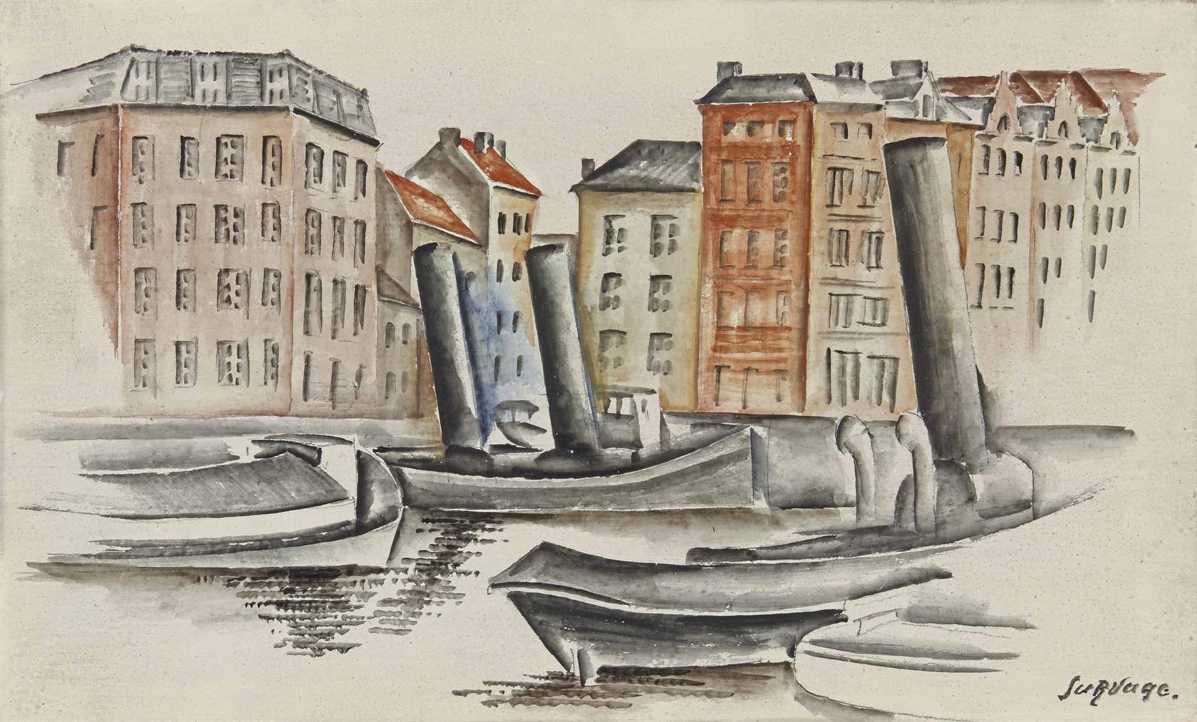 Leopold Survage-Scene De Port, Quai De Vallon-