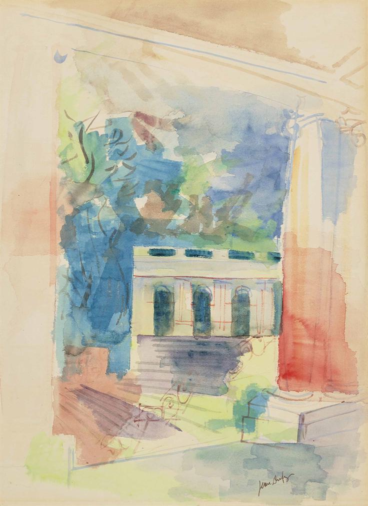 Jean Dufy-Monument Avec Arches Et Colonnes-1924