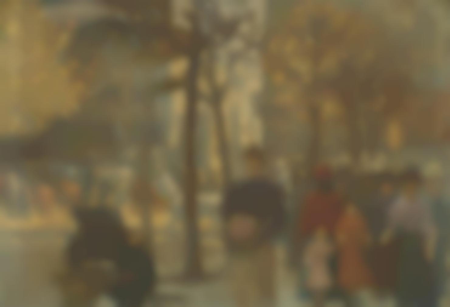 Louis Hayet - Scene De Rue En Automne-