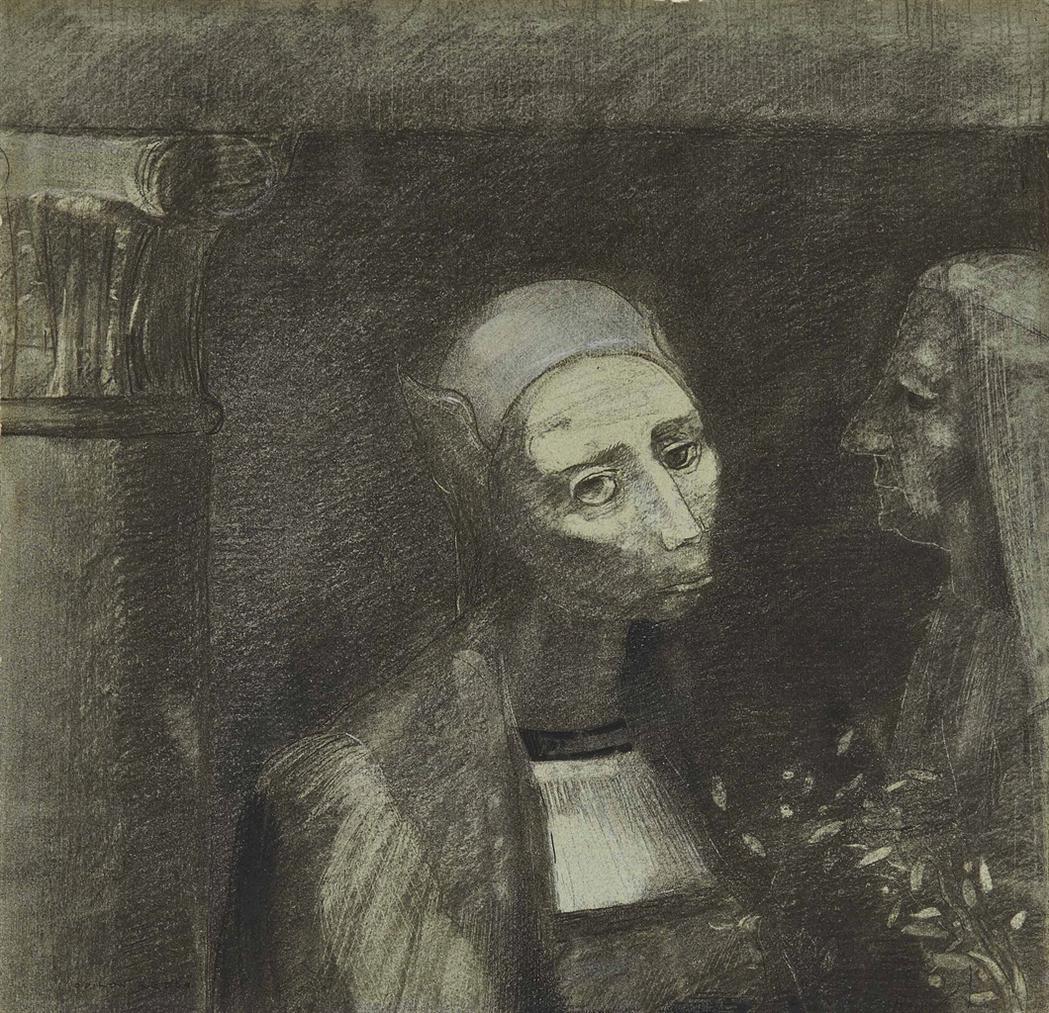 Odilon Redon-Deux Tetes De Femmes Ou Satan Et La Statue-