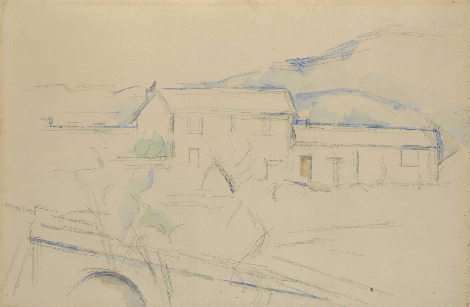 Paul Cezanne-Maisons Pres Dun Pont, La Montagne Sainte-Victoire-1885