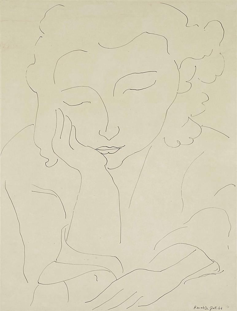 Henri Matisse-Jeune Femme Accoudee-1944