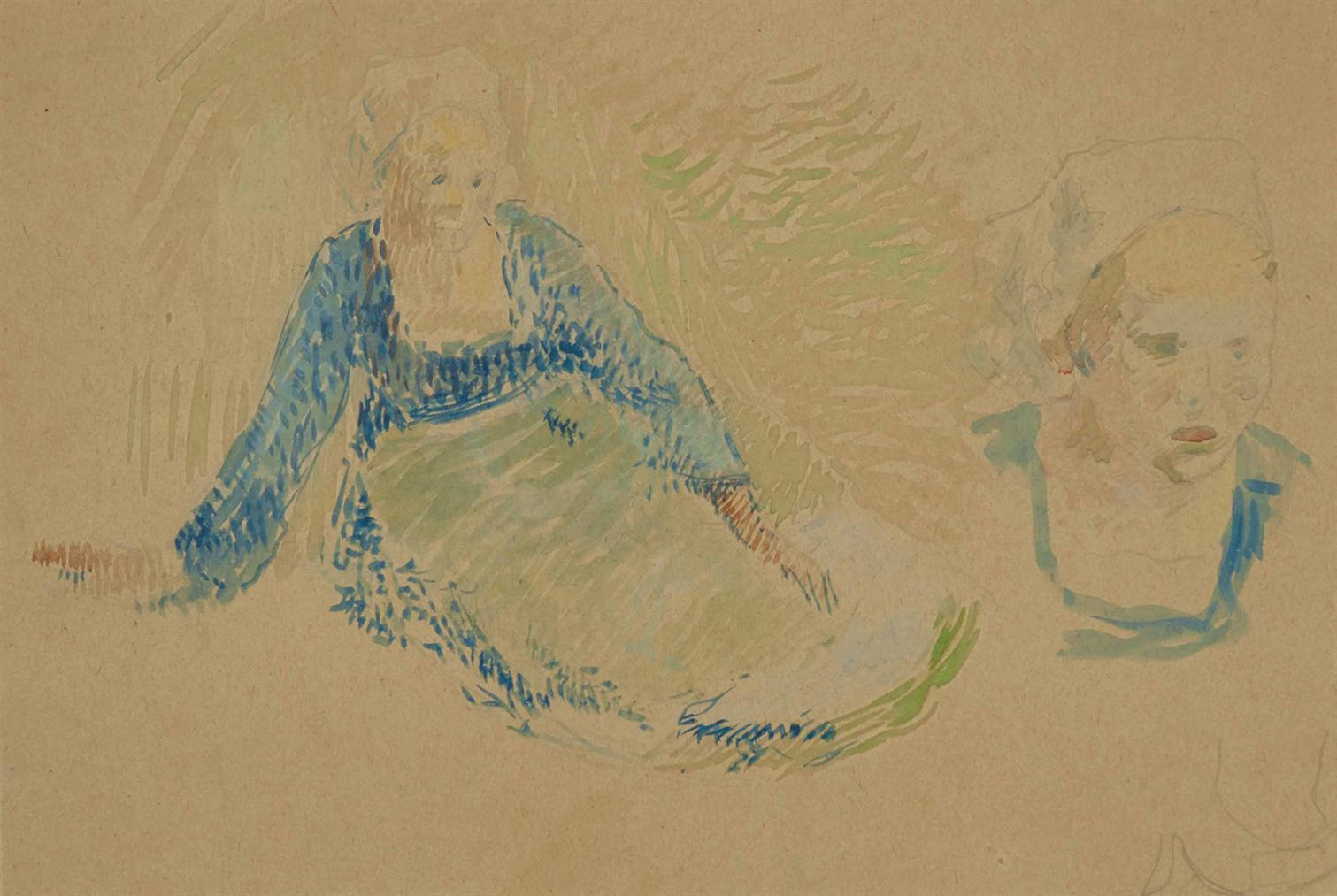 Paul Gauguin-Bretonnes, Etude Pour Printemps A Lezaven-1888