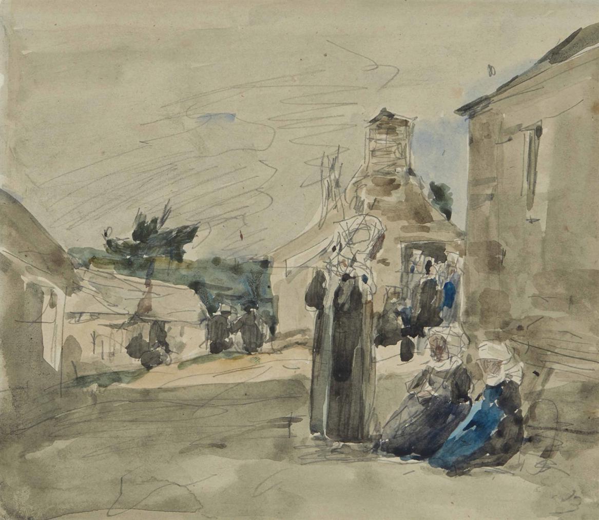 Eugene Louis Boudin-Village Breton-1876