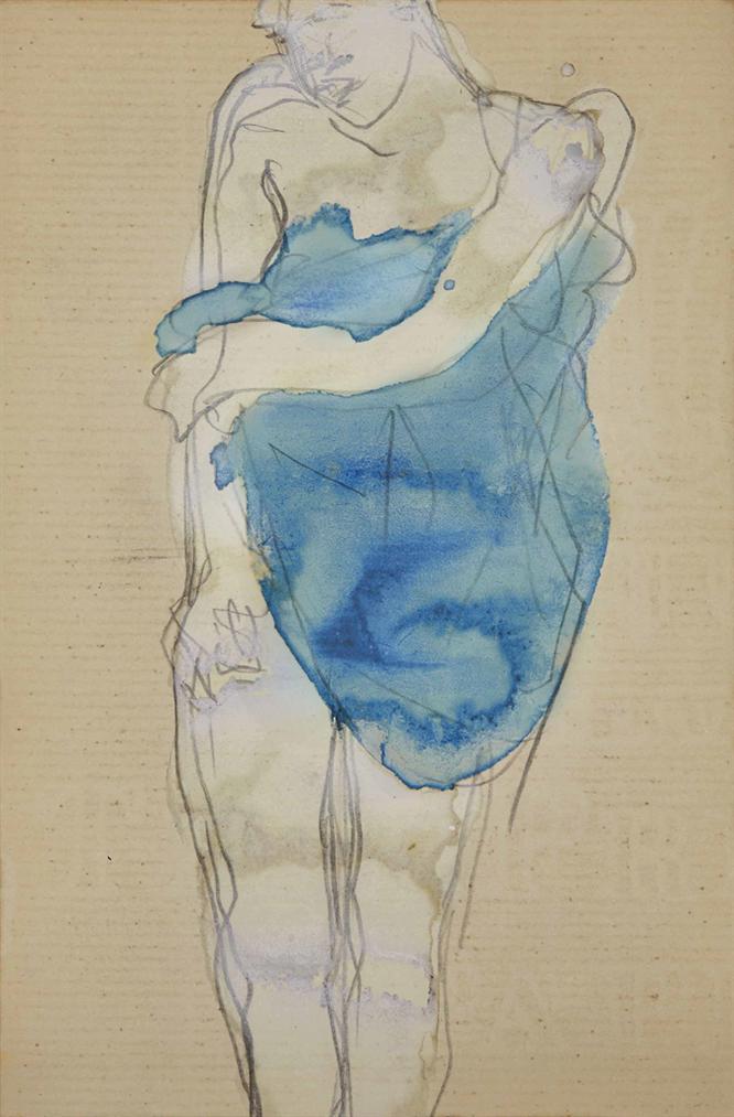 Auguste Rodin-Femme Debout Au Drape Bleu (Recto); Femme Nue Penchee En Avant (Verso)-1895