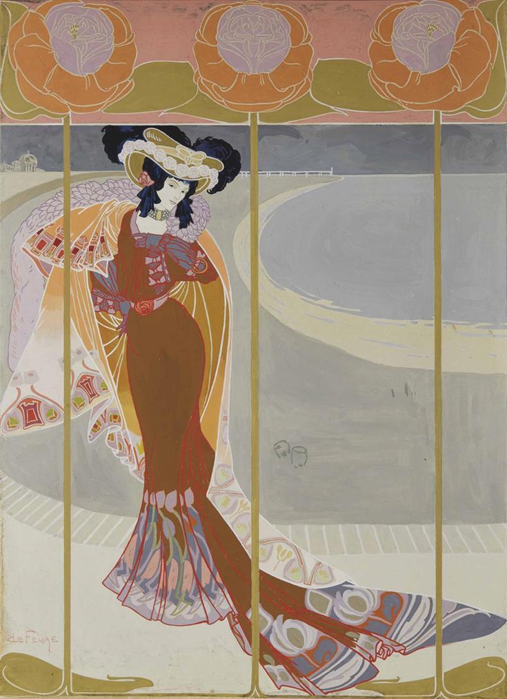 Georges De Feure - Elegante Sur La Plage-1905