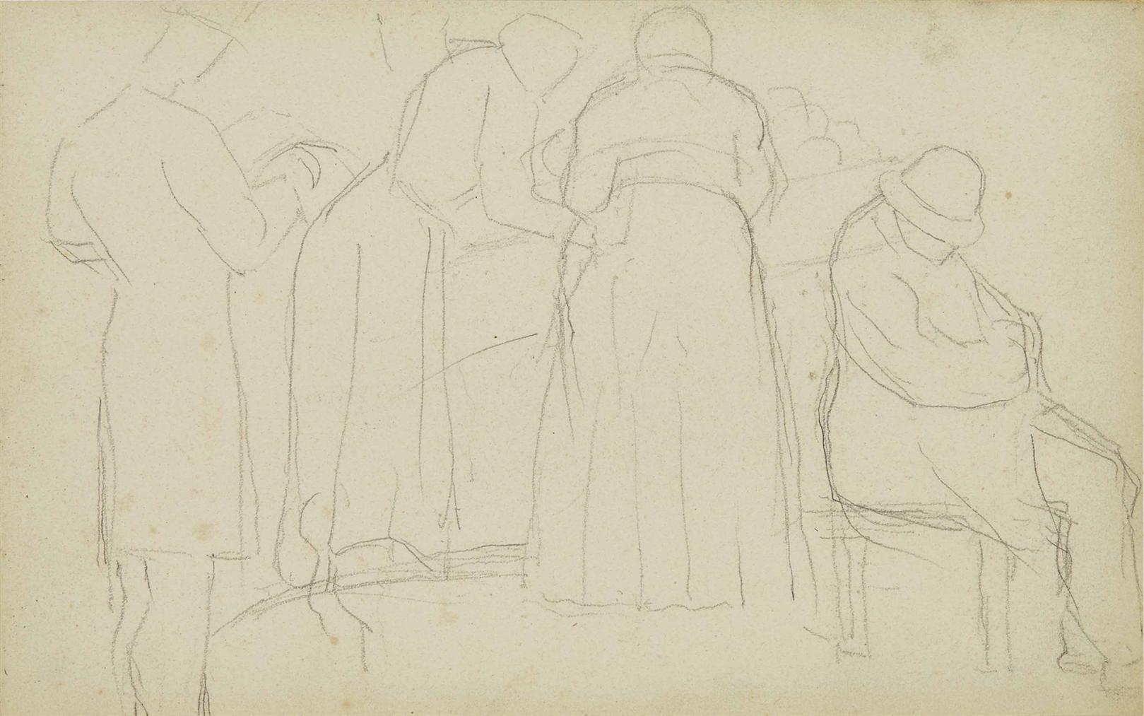 Georges Seurat-Homme Assoupi, Un Autre Debout Lisant, Deux Femmes (Planche Issue Du Carnet De Brest)-1880