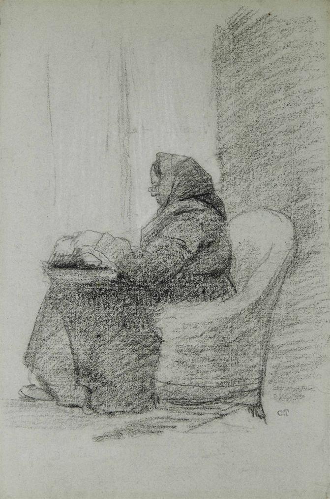 Camille Pissarro-La Mere De Lartiste (Recto/Verso)-1860