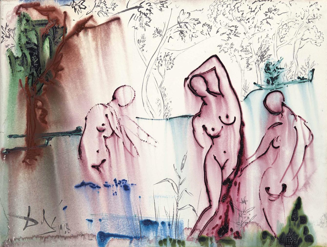Salvador Dali-Le Bain, Etude Pour Lodyssee-1968