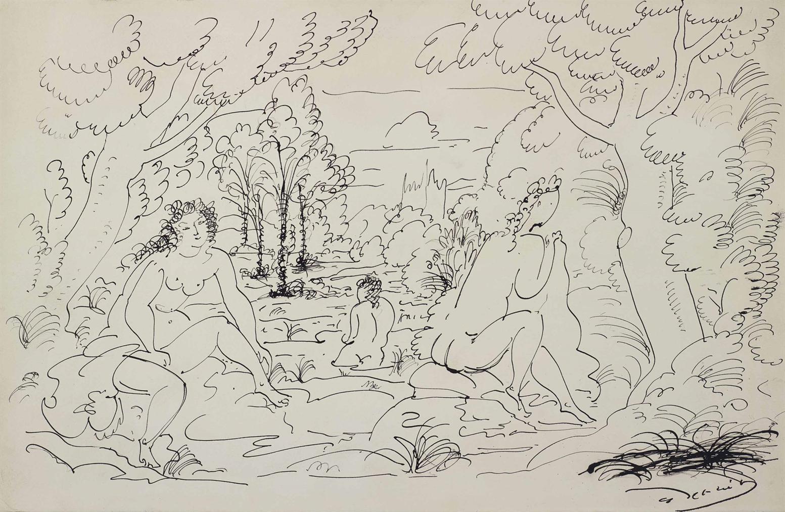 Andre Derain-Baigneuses Dans Un Paysage-1930