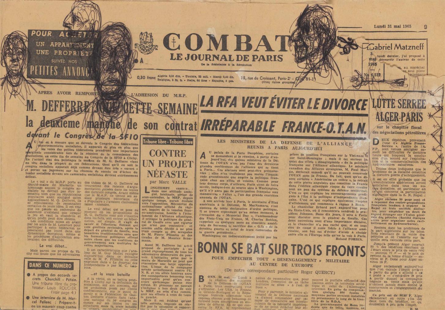 Alberto Giacometti-Esquisses De Tetes Dhomme Et Griffonnages-1965
