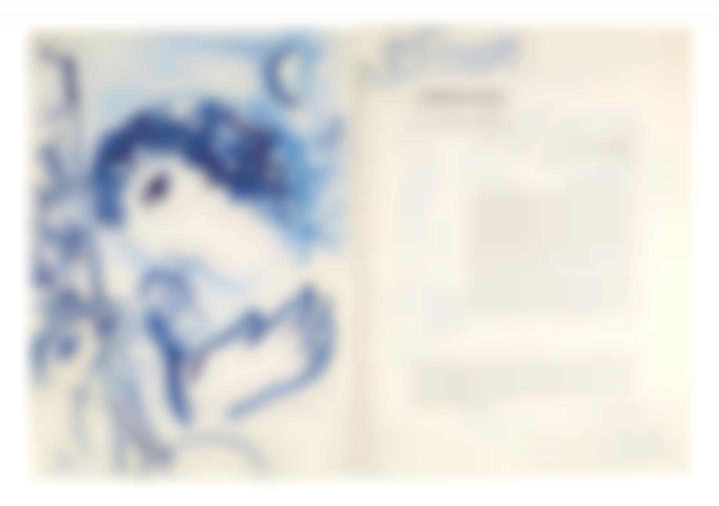 Marc Chagall-Profil Bleu Du Peintre Pour Les Amis Cain-1957