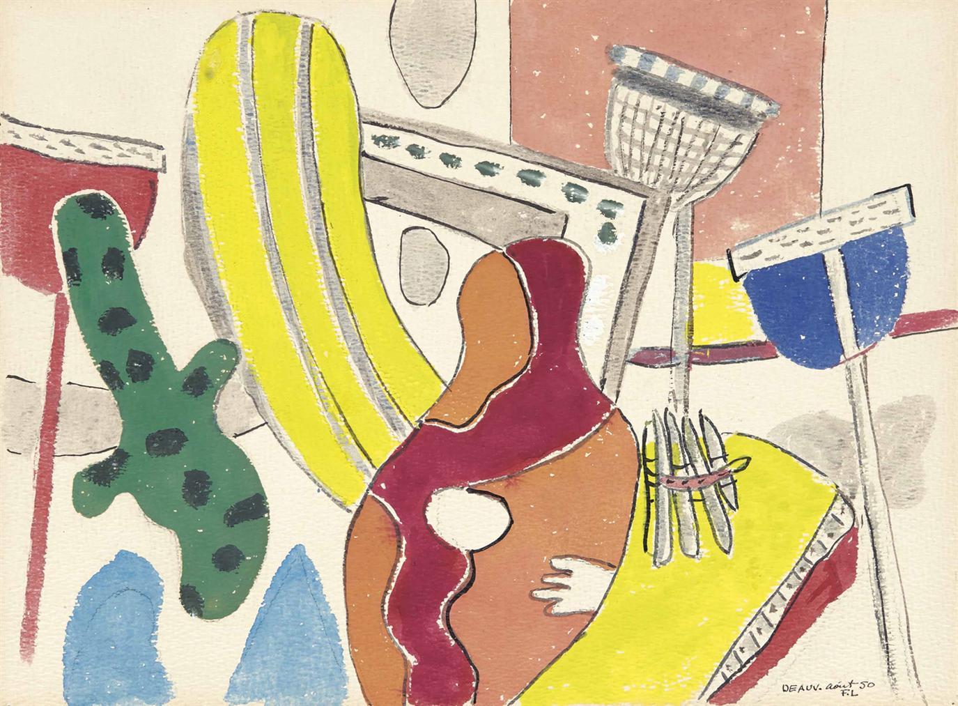 Fernand Leger-Composition: La Plage A Deauville-1950