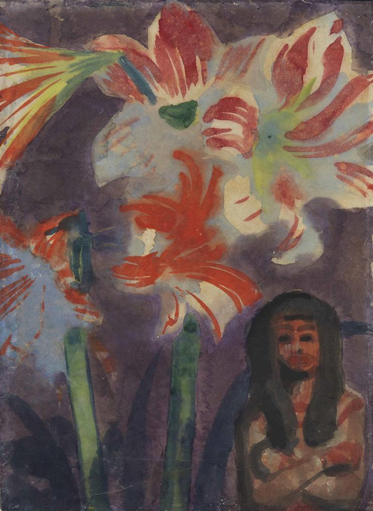 Emil Nolde-Madchen Mit Lilien-1935