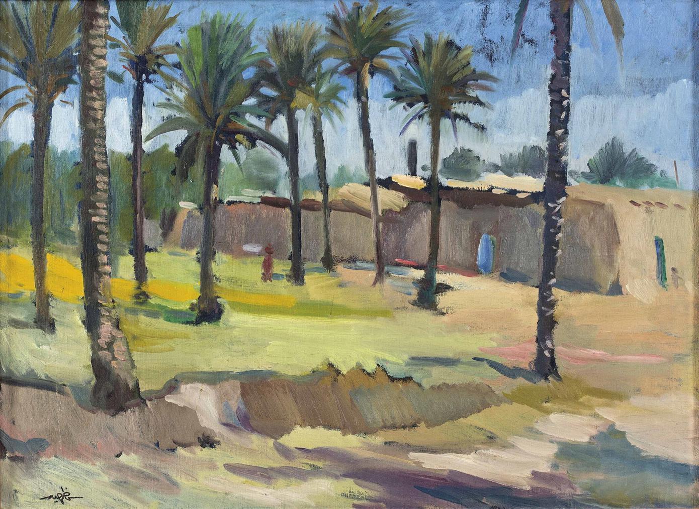 Kadhim Haider - A View Of Palm Trees In Taarimiyah Baghdad-