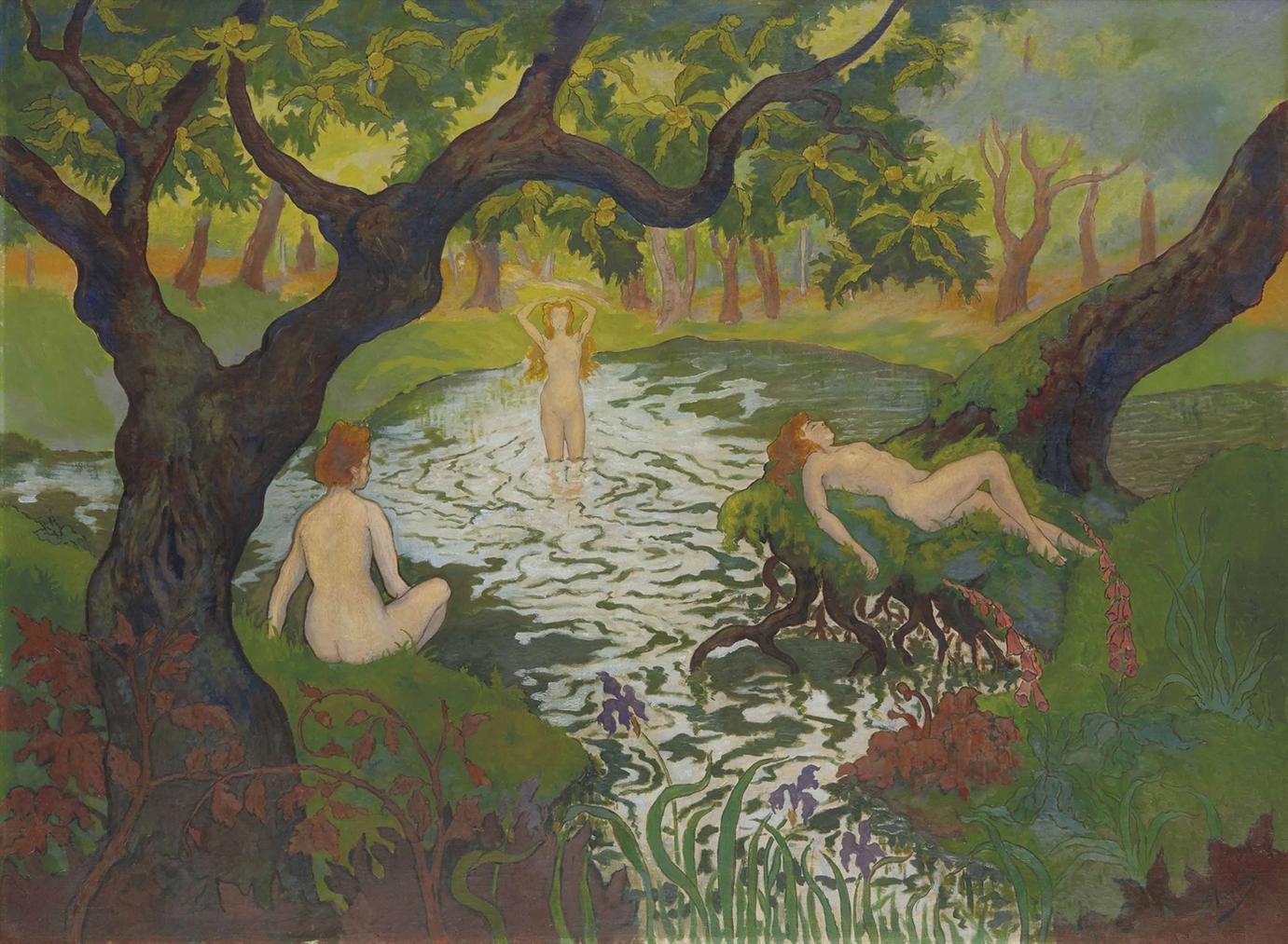 Paul-Elie Ranson - Trois Baigneuses Aux Iris Ou Femmes Au Bain-1896