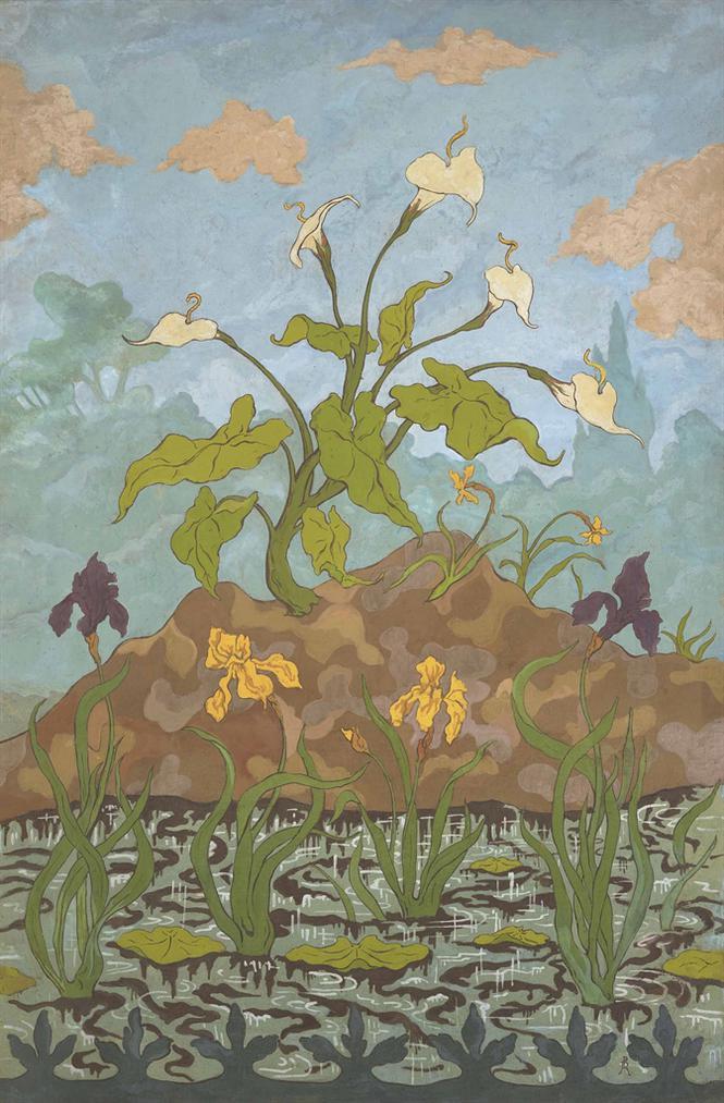 Paul-Elie Ranson - Arums Et Iris Violets Et Jaunes-1899