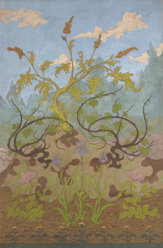 Paul-Elie Ranson - Iris Et Grandes Fleurs Jaunes Et Mauves-1899