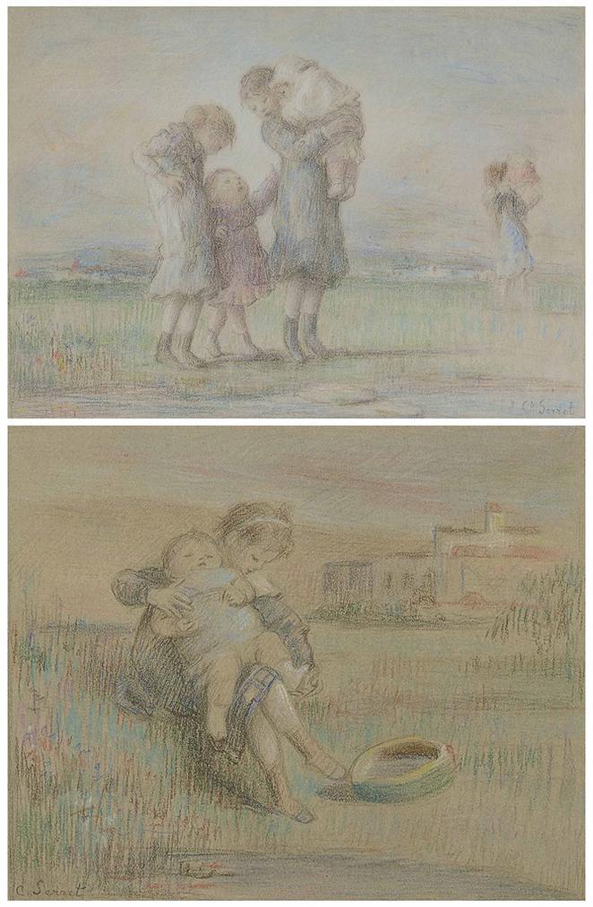 Charles-Emmanuel Serret - Enfants Sur La Plage-