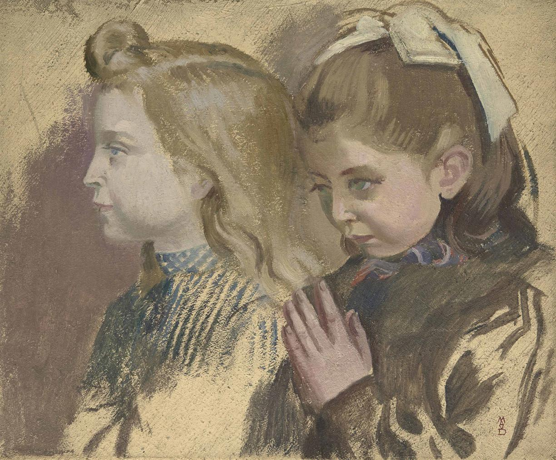 Maurice Denis-Portraits De Deux Fillettes, Etude Pour Notre Dame De Lecole-1903