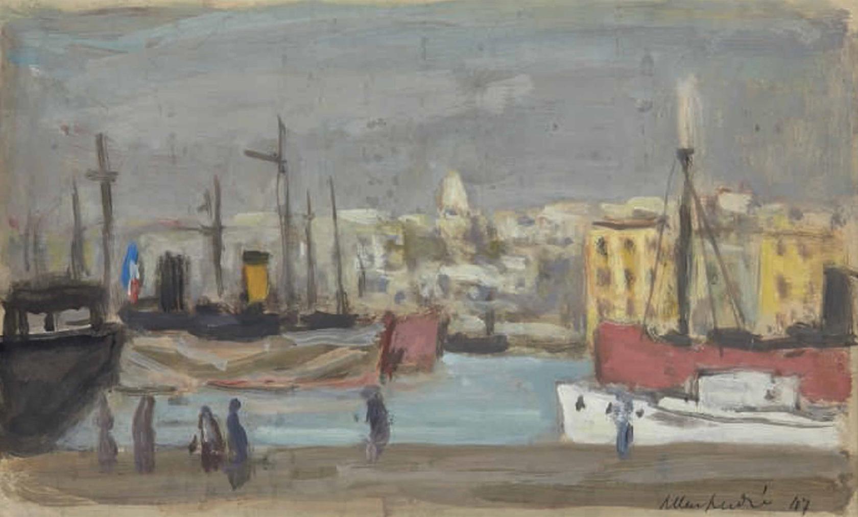 Albert Andre-Vue Du Port De Marseille-1947