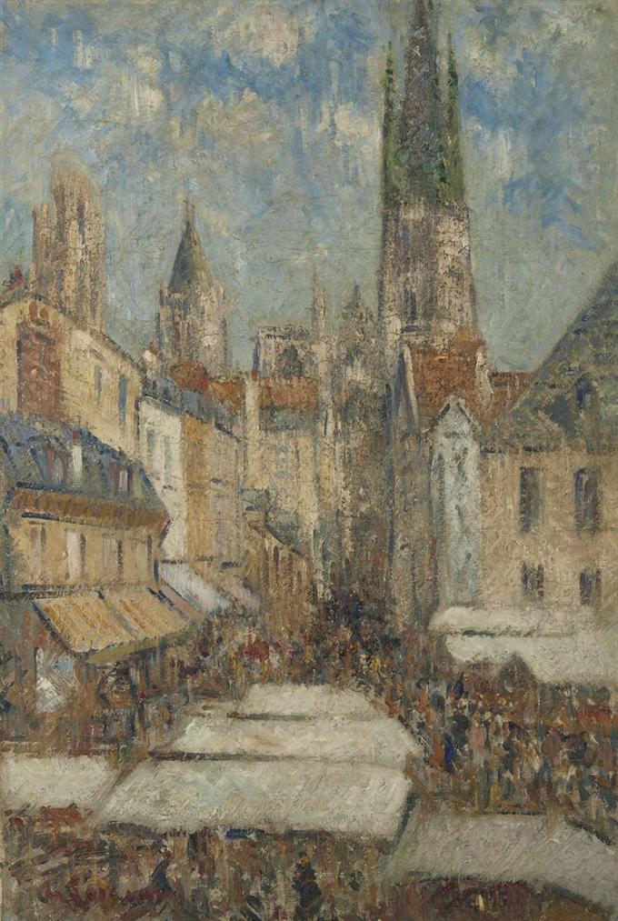 Gustave Loiseau-La Rue De Lepicerie A Rouen-1929