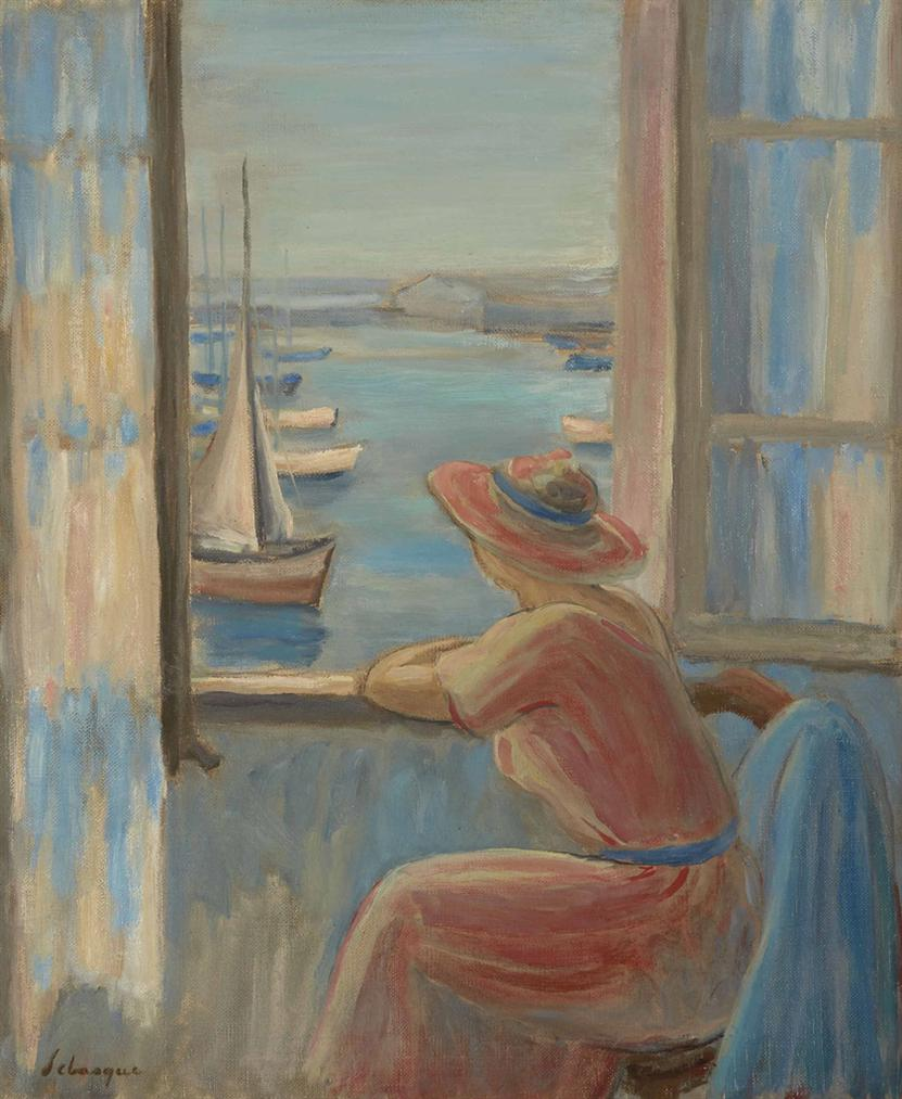 Henri Lebasque-Femme Devant La Fenetre A Lile Dyeu-1919
