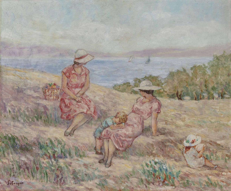 Henri Lebasque-Femmes Et Enfants Devant La Mer-1930