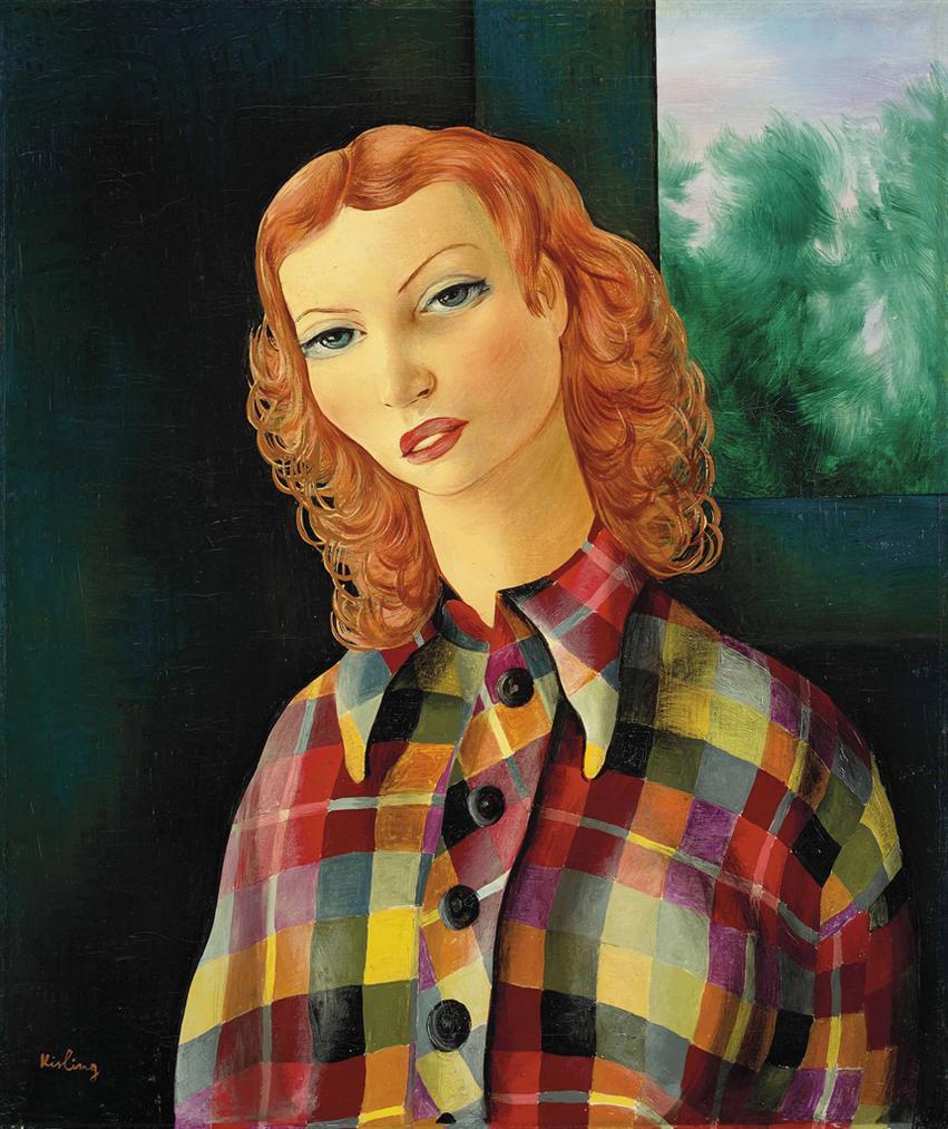 Moise Kisling-Jeune Femme Au Corsage A Carreaux-1936