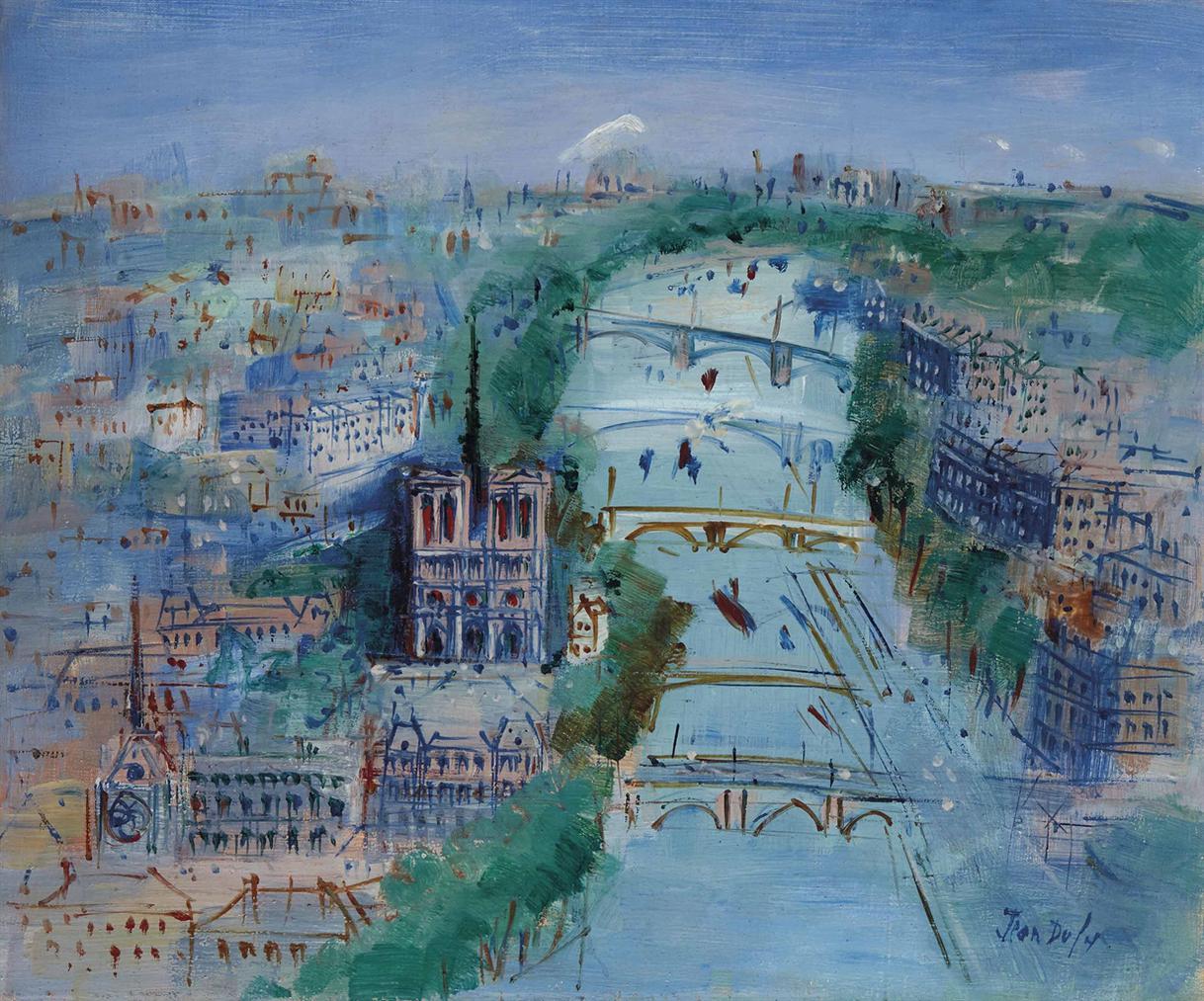 Jean Dufy-La Seine Vers Notre-Dame De Paris-1960