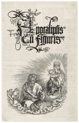Albrecht Durer-The Virgin And Child Appearing To Saint John, Title Page For: The Apocalypse-1511