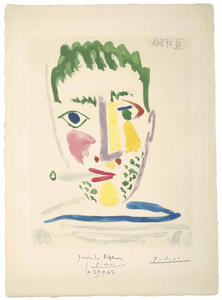 Pablo Picasso-Fumeur Au Maillot Raye Gris Et Bleu-1964