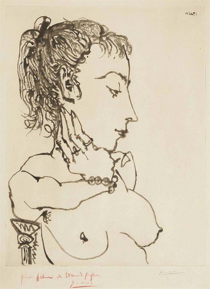 Pablo Picasso-Buste De Femme A La Queue De Cheval: Jacqueline-1955