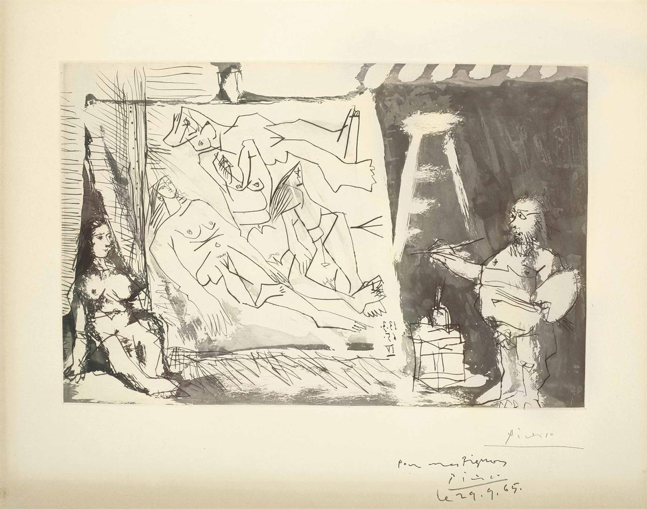 Pablo Picasso-Dans Latelier: Peintre Et Sa Toile Avec Un Modele Assis-1965