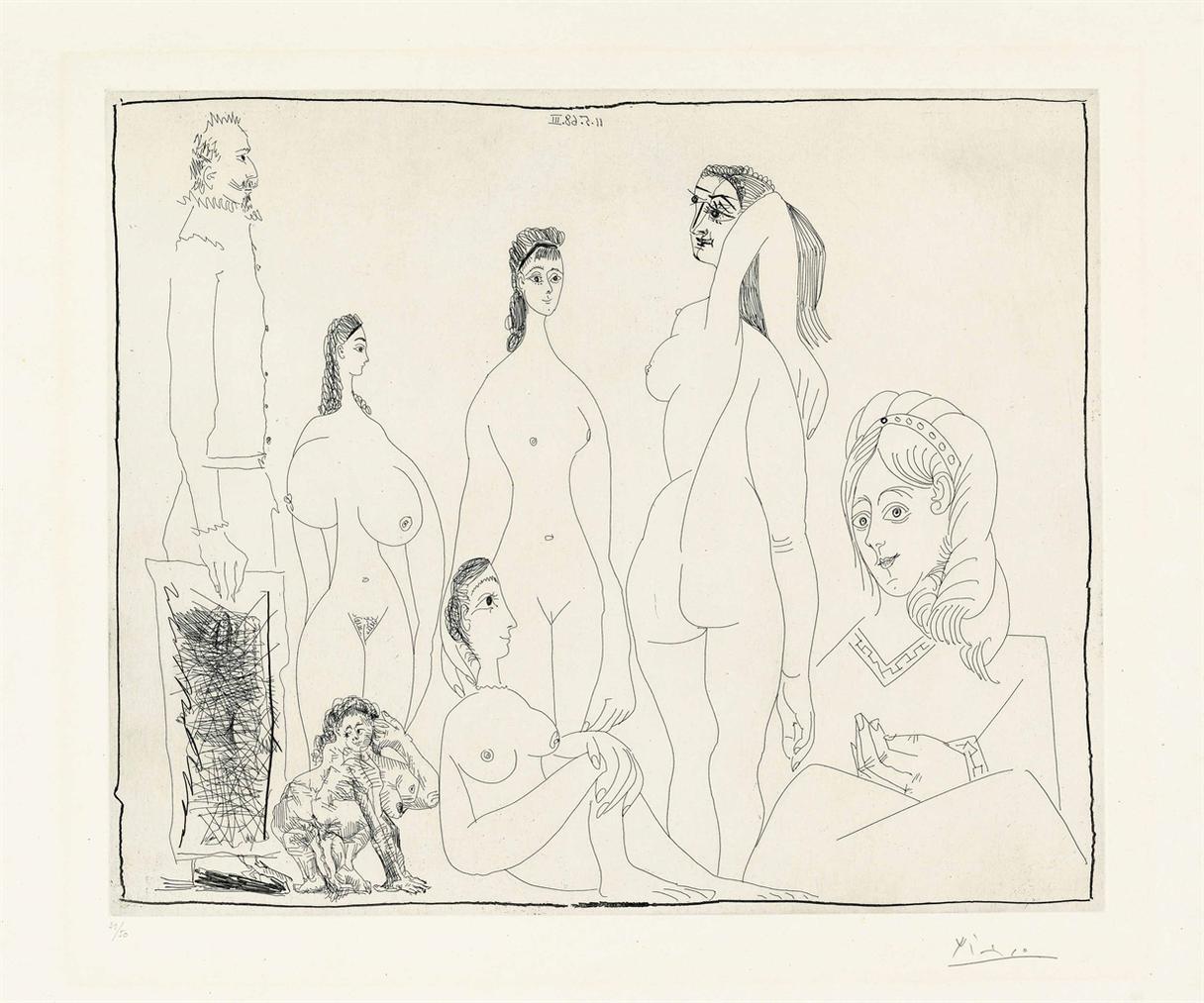 Pablo Picasso-Peintre Longiligne Avec Des Femmes, Dont Une Petite Pisseuse, From: Series 347-1968