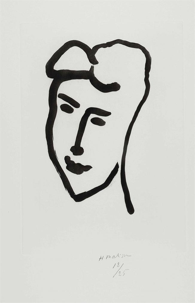 Henri Matisse-Visage De Jeune Femme-1948