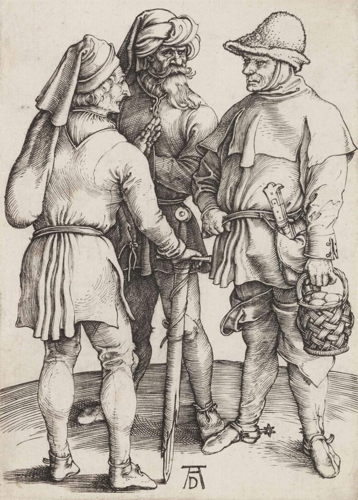 Albrecht Durer-Three Peasants In Conversation-1497