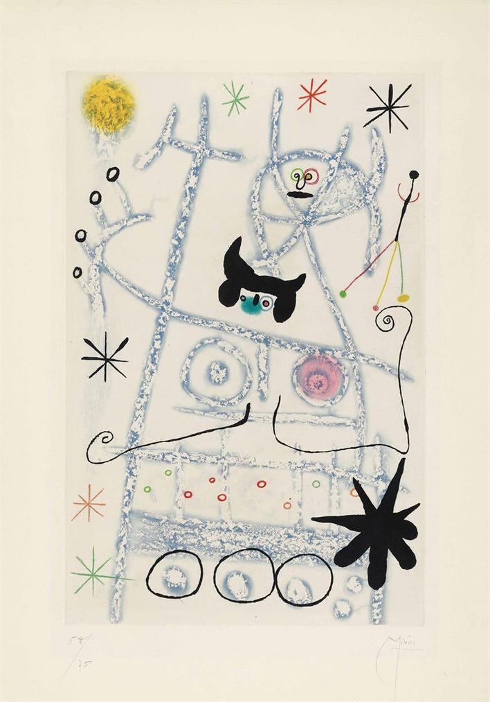 Joan Miro-Les Forestiers (Bleu)-1958