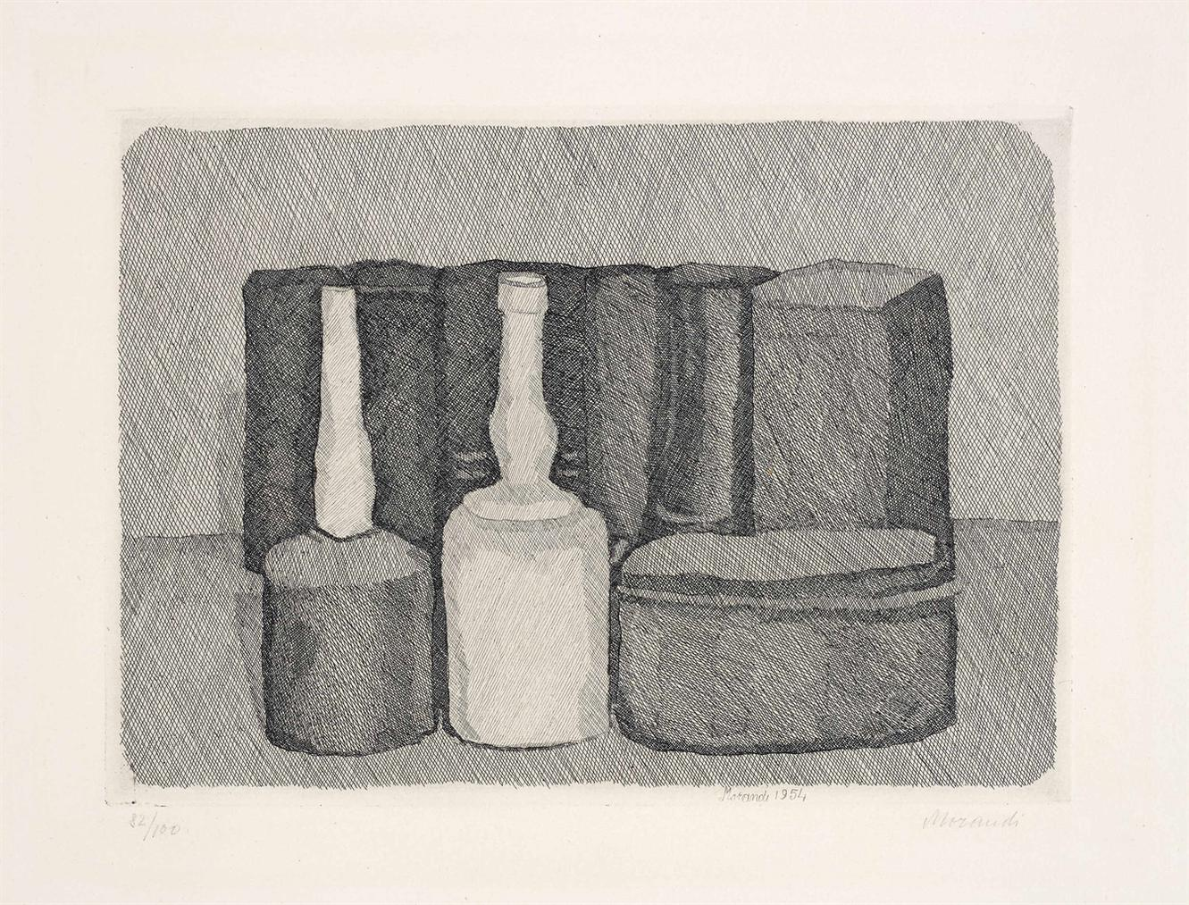 Giorgio Morandi-Natura Morta Con Nove Oggetti (Still Life With Nine Objects)-1954