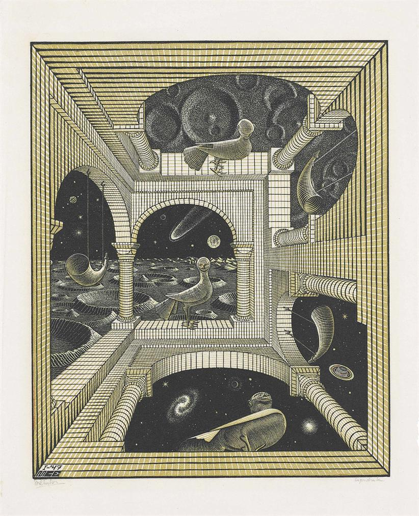Maurits Cornelis Escher-Other World-1947