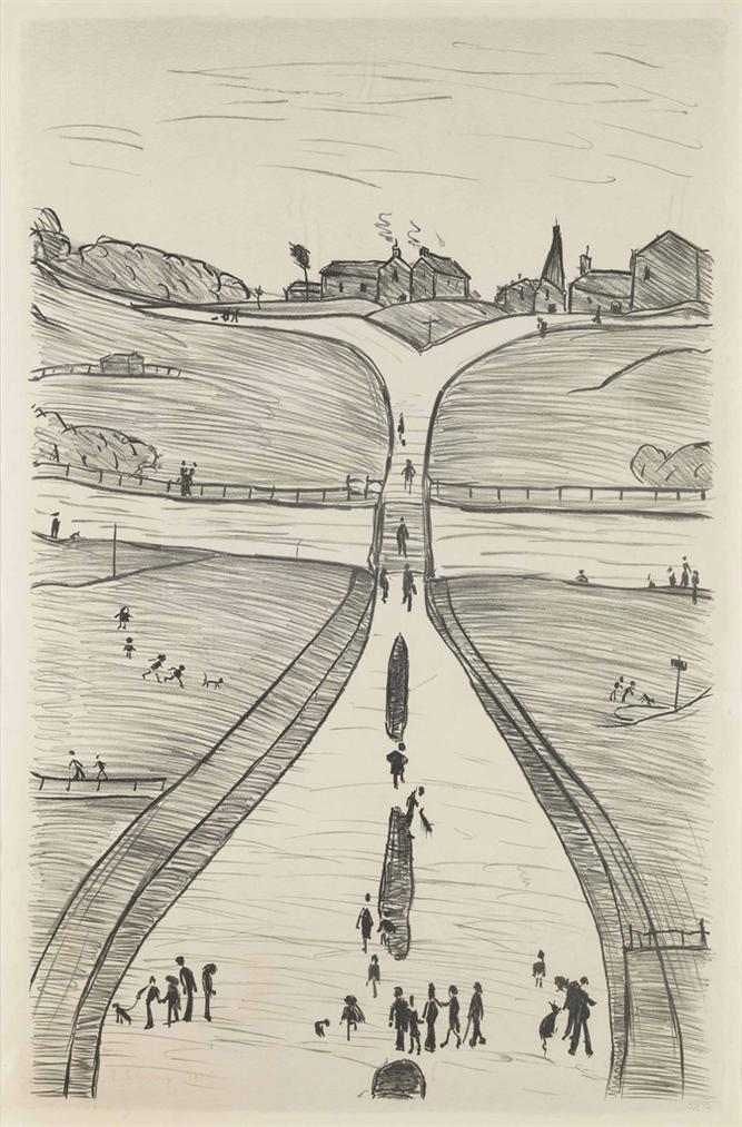 Laurence Stephen Lowry-A Village On A Hill-1966