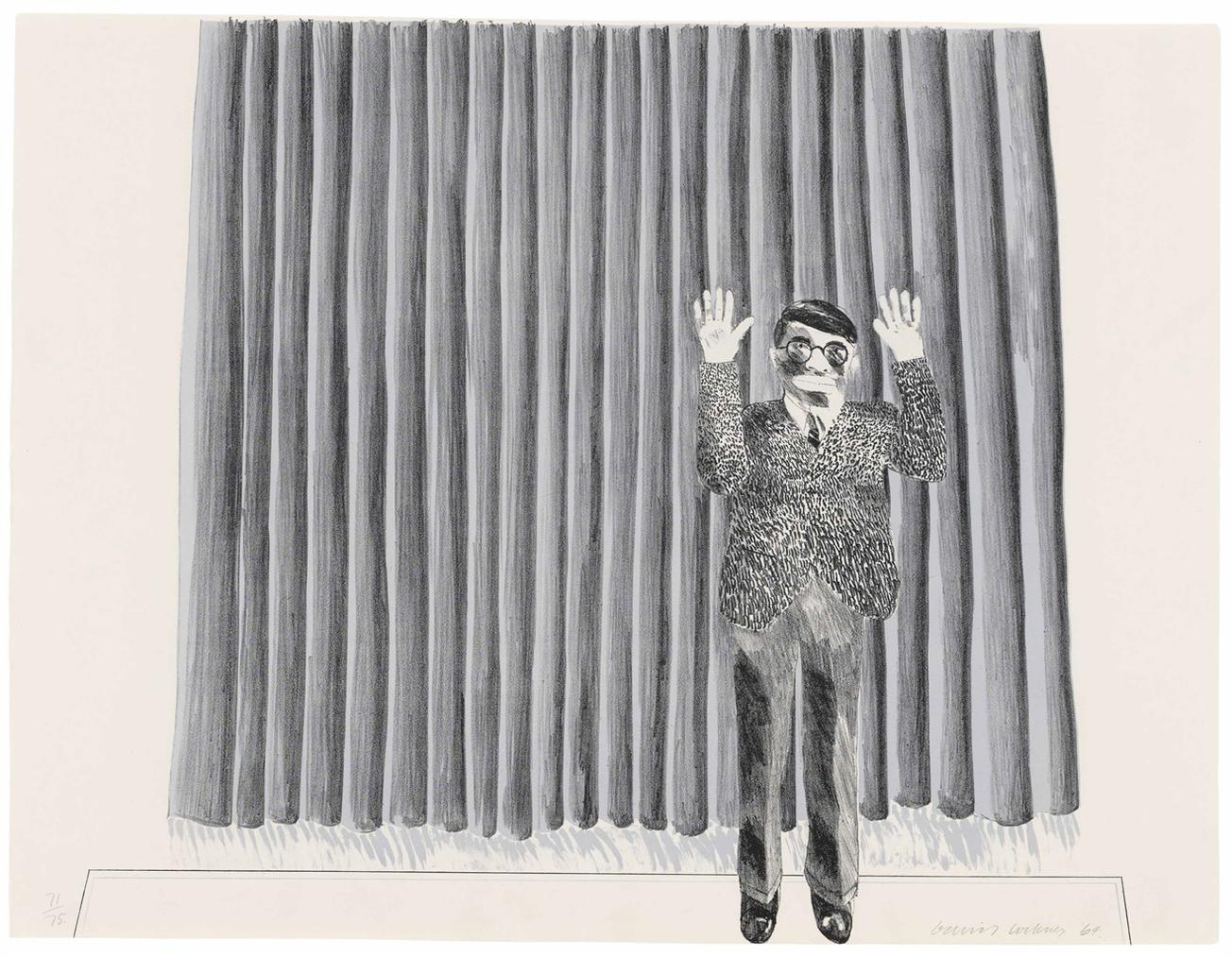 David Hockney-Figure By A Curtain-1964