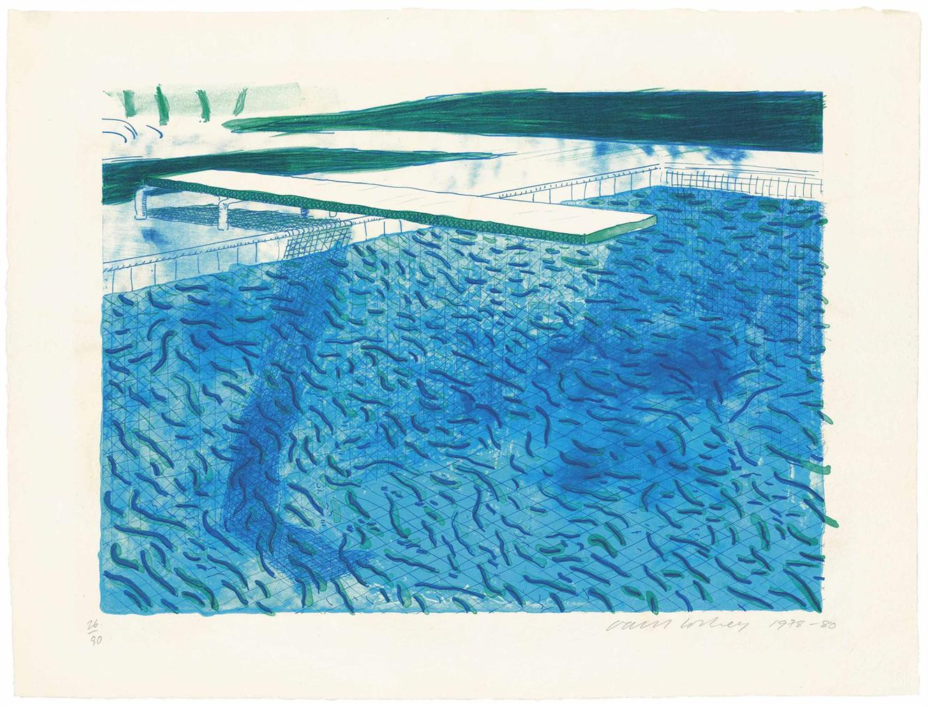David Hockney-Lithograph Of Water Made Of Thick And Thin Lines, A Green Wash, A Light Blue Wash, And A Dark Blue Wash-1980