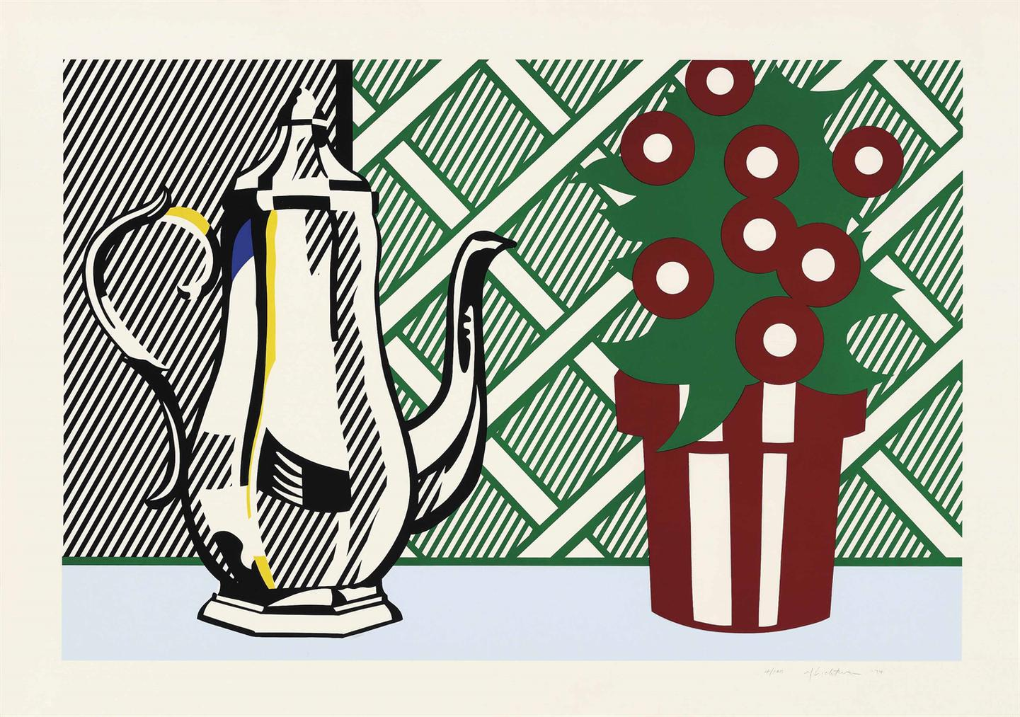 Roy Lichtenstein-Still Life With Pitcher And Flowers, From: Six Still Lifes-1974