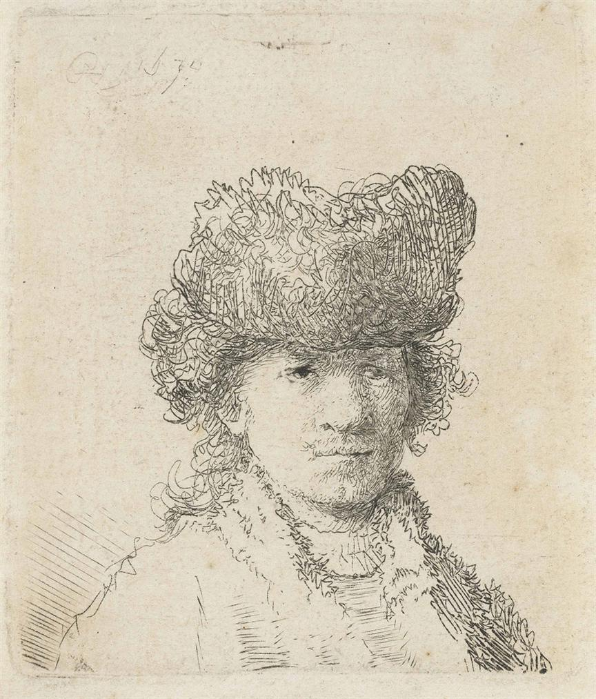 Rembrandt van Rijn-Self-Portrait In A Fur Cap: Bust-1630