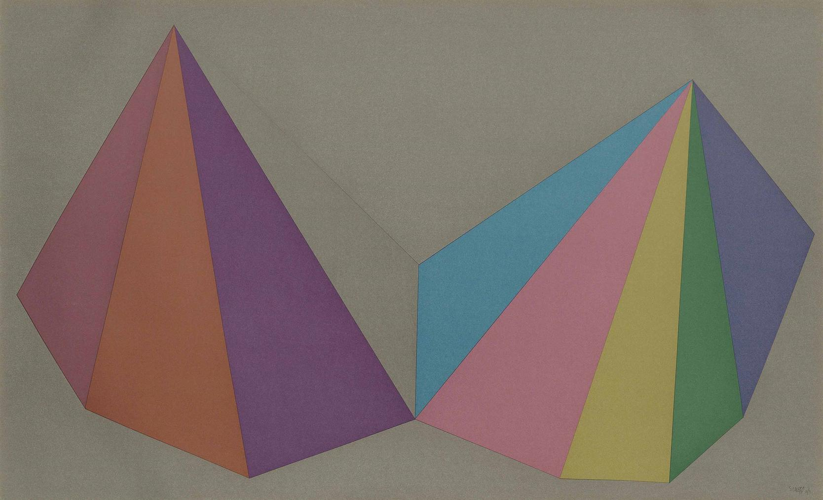 Sol LeWitt-Plate 4, From: Two Asymmetrical Pyramids-1986