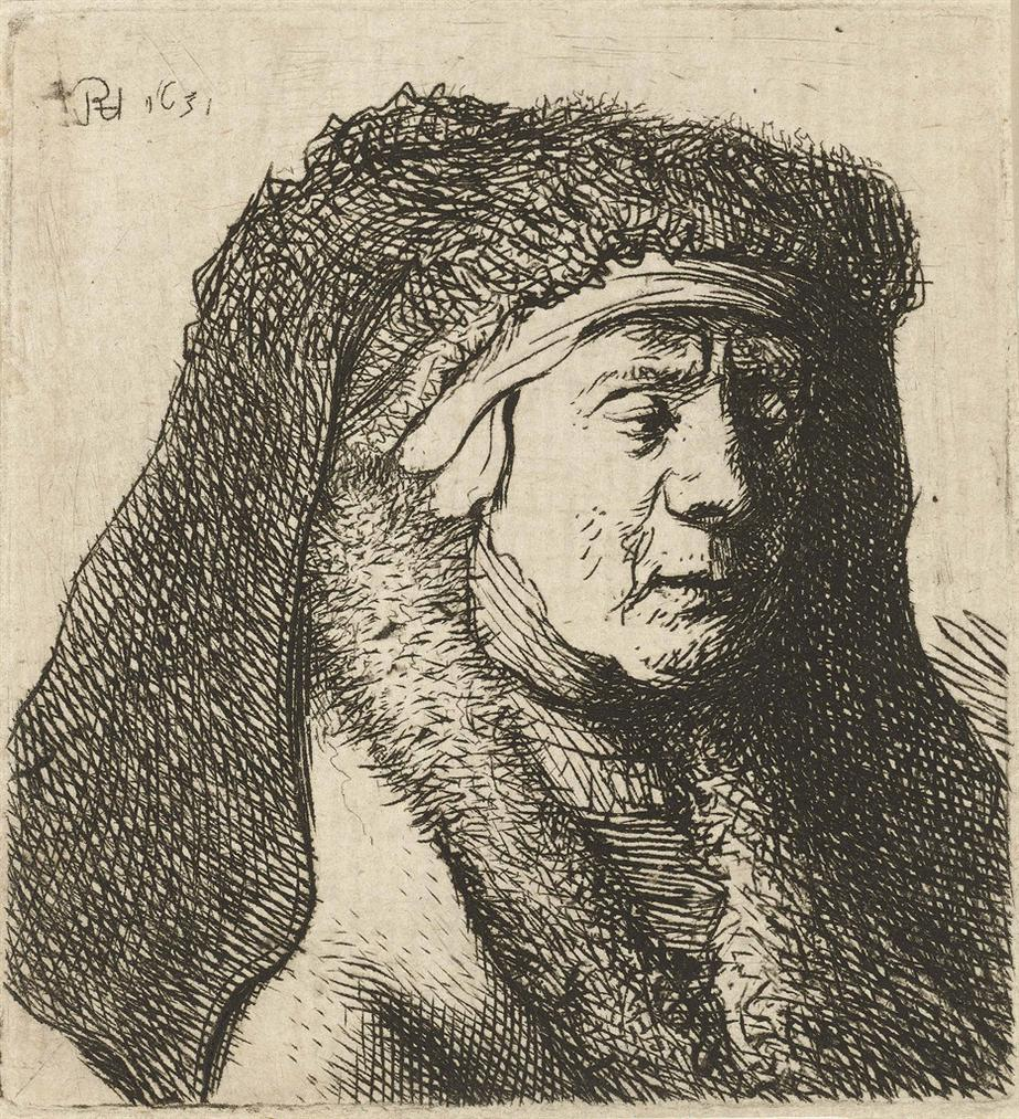 Rembrandt van Rijn-Bust Of An Old Woman In A Furred Cloak And Heavy Headdress-1629