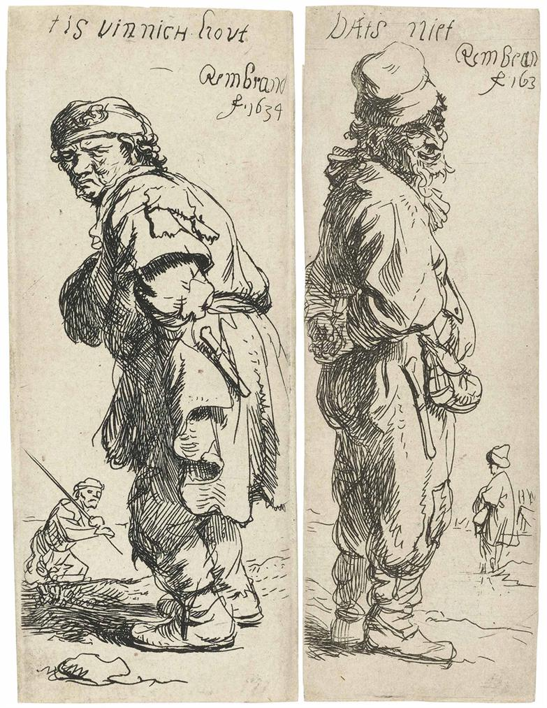 Rembrandt van Rijn-A Peasant Calling Out: Tis Vinnich Kout; And A Peasant Replying: Dats Niet-1634